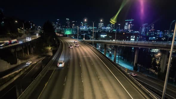 Thumbnail for Seattle Freeway Hyperlapse Effect On Night Cityscape