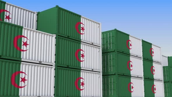 Thumbnail for Container Yard Full of Containers with Flag of Algeria