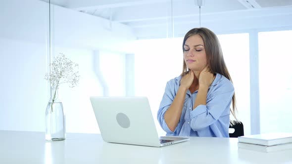 Cover Image for Tired Woman at Work Relaxing, Neck Pain