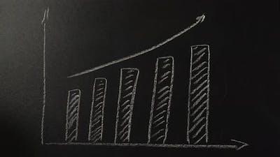 Female Hand Drawing a Graph on a Blackboard