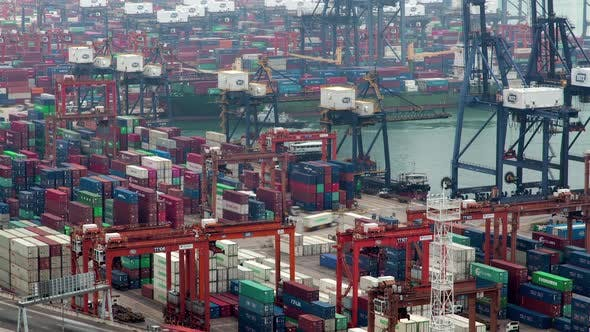 Thumbnail for Container Port Cranes Load Cargo Vessels in Hong Kong Harbour