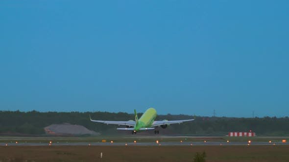 Jet Airliner Takes Off