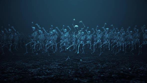 Skelette tanzen zusammen mit Filmmusik Kamerabewegungen V2 Hd