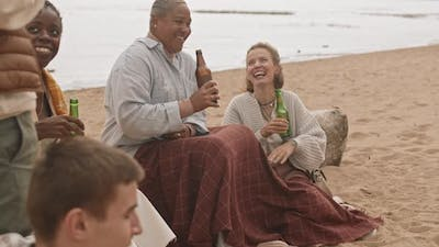 Women Drinking Beer on Beach Party