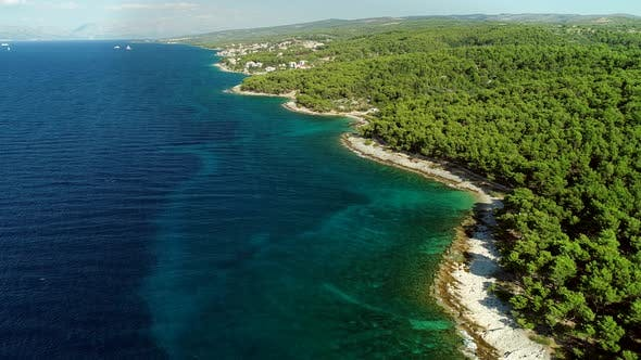 Thumbnail for Aerial view of rocky coastline in the Adriatic, Croatia.