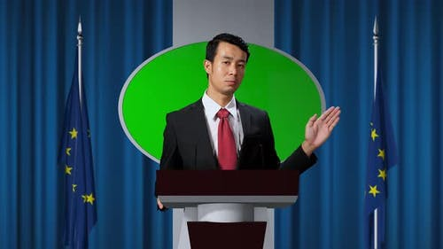 Organization Representative Speaking At A Press Conference In Government Building With Green Screen