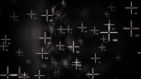 Abstract chaotic movement of military targets on a black background