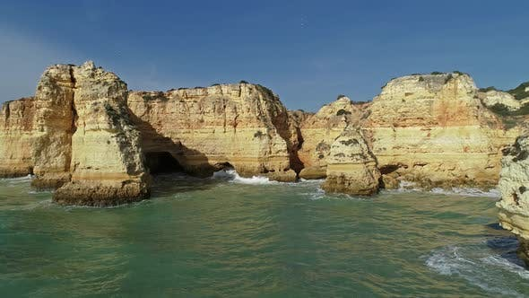Cover Image for Rock Cliffs and Waves in Algarve Portugal