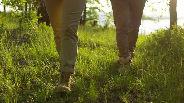 Thumbnail for Legs of Tourist Couple Walking on Grass in Forest