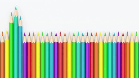 Colorful pencils in a row with white background.