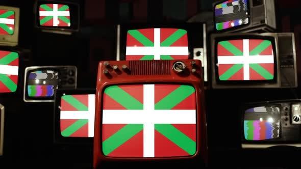 Flagge des Baskenlandes, Spaniens und Retro-Fernsehern.