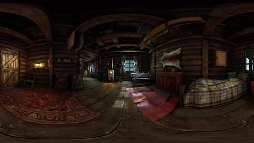 VR360 View of Old Log Home Interior