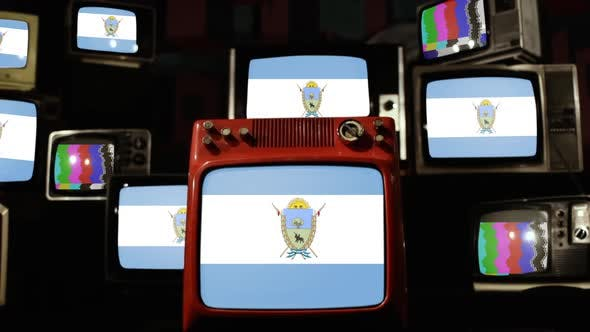 Thumbnail for Flag of La Pampa Province of Argentina and Retro TVs.