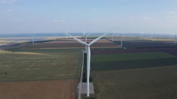 Thumbnail for Aerial View of Windfarm Among Agricultural Fields
