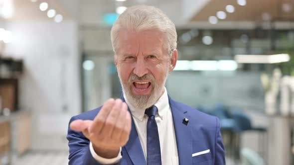Thumbnail for Assertive Senior Old Businessman Pointing and Inviting