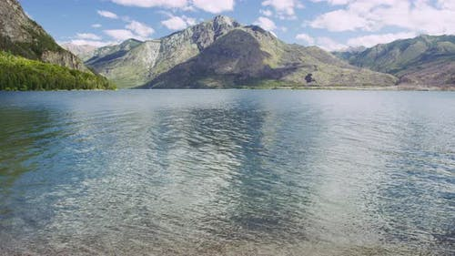 Rippling Water and the Mountain Range in the Background