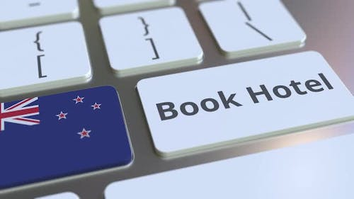 BOOK HOTEL Text and Flag of New Zealand on the Buttons