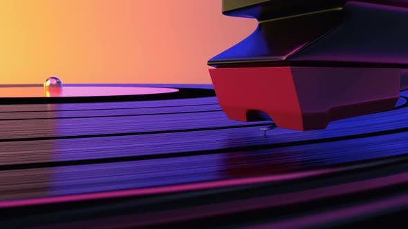 A Vinyl Record Spinning in the Gramophone Music Player and Plays Old Disco Loop