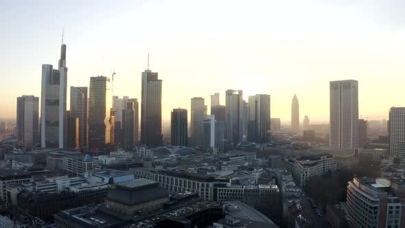 Thumbnail for View of Frankfurt Am Main, Germany Skyline with Sunflair Between Skyscrapers in Beautiful