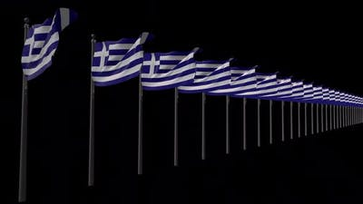 Row Of Greece Flags With Alpha 2K
