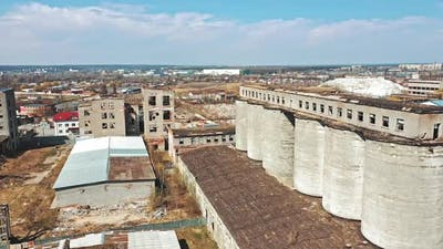Abandoned ruined industrial factory building, ruins and demolition concept. Aerial view
