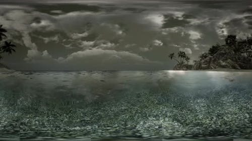 VR 360 Soft Twilight of the Amazing Tropical Marine Beach