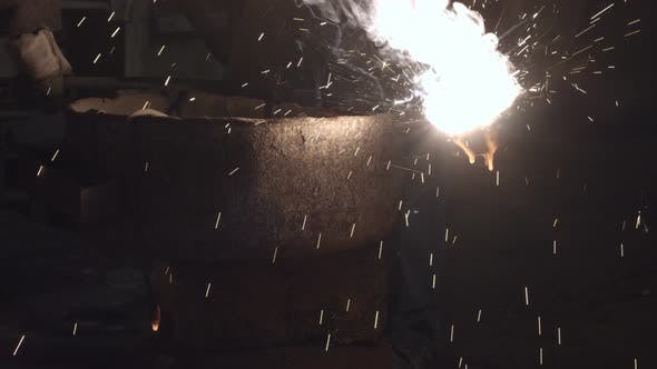 Thumbnail for The Molten Metal Is Poured Out Of The Bowl
