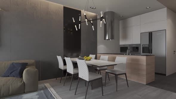 3d render. Camera span across  a modern open living space with kitchen.