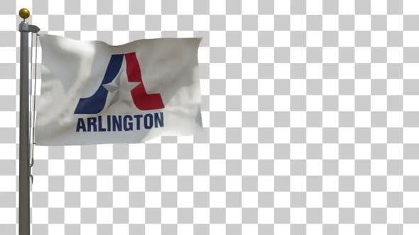 Arlington City Flag (Texas) on Flagpole with Alpha Channel - 4K