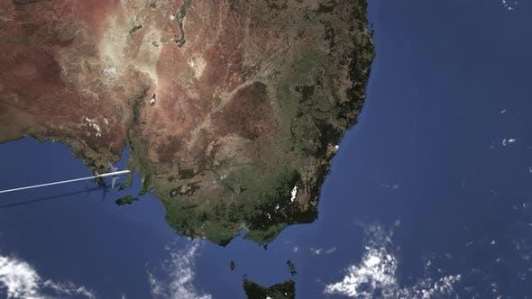 Route eines Flugzeugs Fliegen nach Sydney Australien auf der Karte