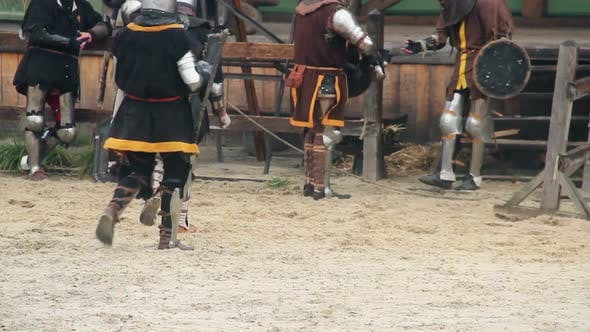 Thumbnail for Actors in Medieval Suits Having Break During Historical Movie Shoot, Reenactment
