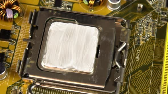 Thumbnail for Top View of the Motherboard. Motherboard PC Base Part. A Lot of Different Chips. View of the