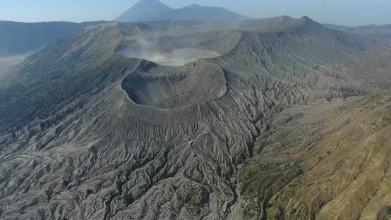 Aerial Footage of Huge Volcano in Bali , Indonesia. Magnificent Asian Nature. Travel Concept. Shot