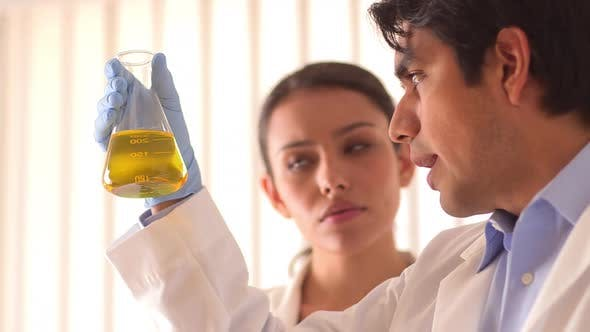 Thumbnail for Mexican scientists analyzing unknown substance