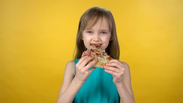 Adorable Girl Eating Pizza