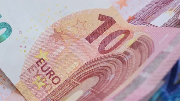 Thumbnail for Euro money banknotes in the row 4K 2160p UltraHD slow panning footage - 10 and 20 Euro banknotes on