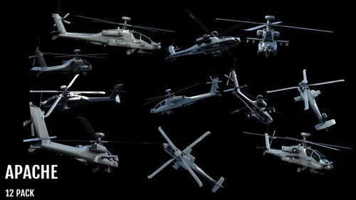 Boeing AH-64 Apache Military Helicopter Action (12) Pack