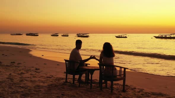Thumbnail for Young Man and Woman After Marriage in Love Spend Quality Time on Beach on Clean White Sand