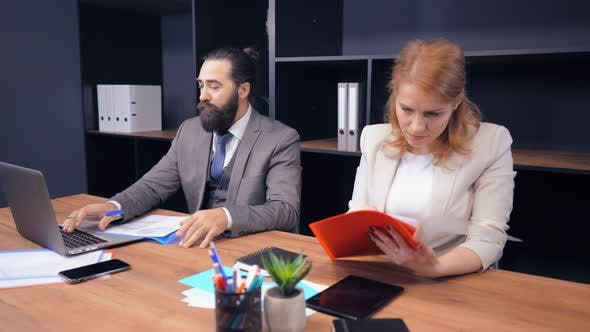 Thumbnail for Middle-aged Business Partners Working with Documents at Workplace