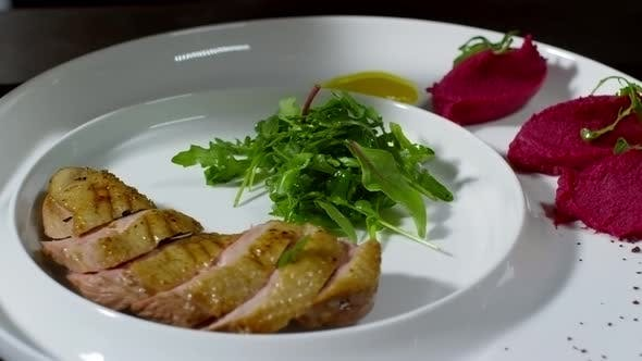 Thumbnail for Cook Plating Dish with Duck Breast