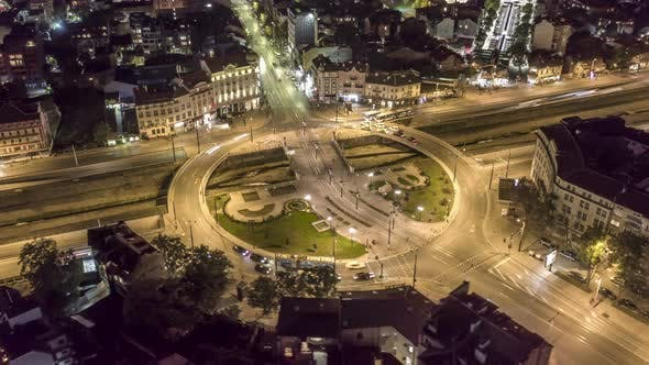 Thumbnail for Roundabout at Night From Above