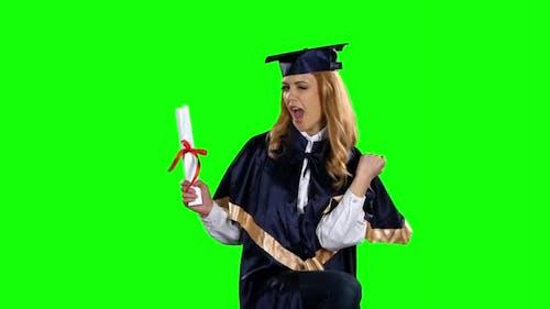 Dancing Graduate. Green Screen