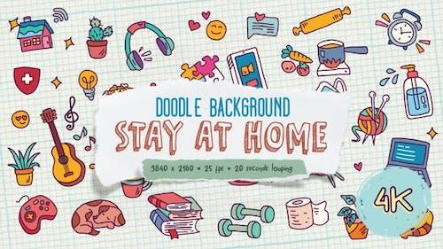 Doodle Hintergrund - Bleiben Sie zu Hause