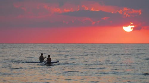 Silhouettes of People Surfers on the Sea at Sunset.