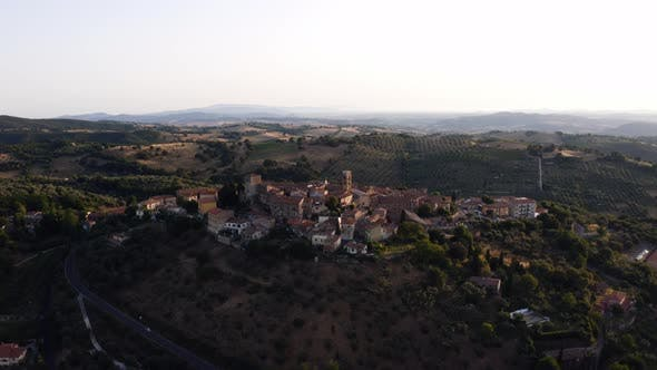 Aerial View Of Montemerano City on the mountains
