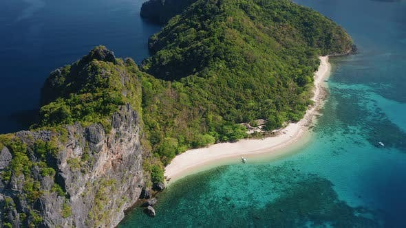 Thumbnail for Aerial View of Tropical Beach on Dilumacad or Helicopter Island. El Nido, Palawan Philippines. Blue