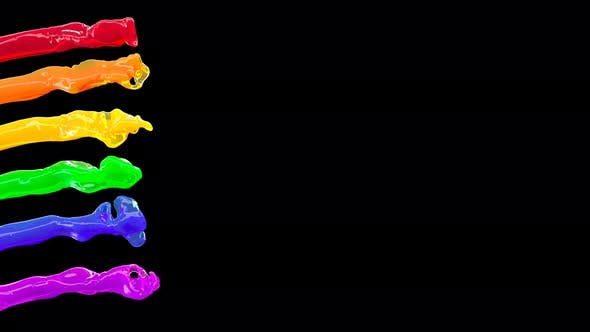 Color Lgbtq Liquid Rainbow Wave Flow on Black