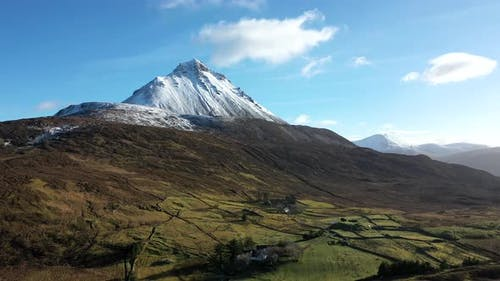 Aerial View of Mount Errigal, the Highest Mountain in Donegal, Seen From North West - Ireland