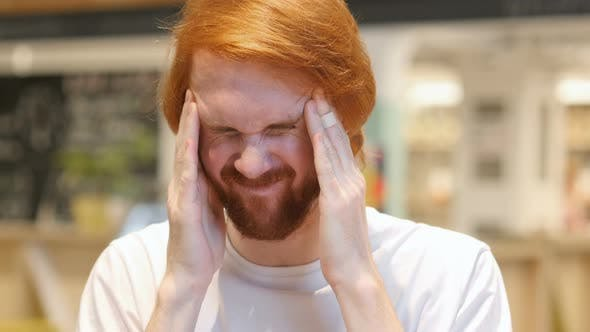 Thumbnail for Tense Redhead Beard Man with Headache, Frustrated Life