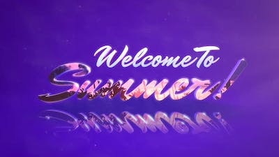 Animated text Welcome to Summer with mirror effect, summer sunset background